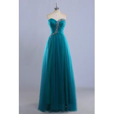 Inexpensive Custom Ball Gown Sweetheart Long Tulle Prom Evening Dress
