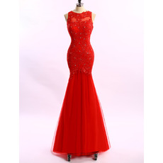 Women's Beautiful Trumpet Sleeveless Long Applique Formal Evening Dress