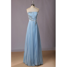 Classic Strapless Long Chiffon Pleated Skirt Formal Evening Dress