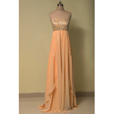 Inexpensive Empire Waist Sweetheart Floor Length Chiffon Evening Dress
