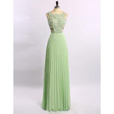 Elegant Floor Length Chiffon Rhinestone Pleated Skirt Formal Evening Dress