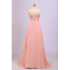 Designer Empire Sweetheart Floor Length Chiffon Prom Evening Dress