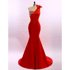 Women's Sheath One Shoulder Sweep Train Satin Red Formal Evening Dress