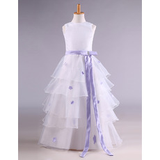 Inexpensive Stunning Organza Layered Skirt Applique Flower Girl Dress with Sash