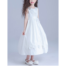 Kids A-Line Sleeveless Tea Length Satin Girls Flower Girl Dress