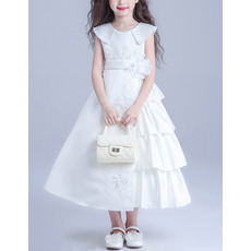 Kids Lovely Lapel Tea Length Satin Taffeta Asymmetric Flower Girl Princess Dress