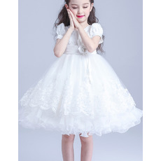 Adorable Princess Knee Length Flower Girl Dress with Short Sleeves