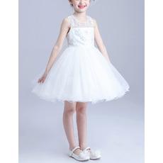 Little Girls Cute Princess Ball Gown Sleeveless Short Satin Flower Girl Dress