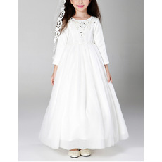 Beautiful Lovely Ankle Length Satin First Communion Dress with Long Sleeves