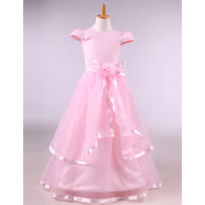 Beautiful Little Girls Floor Length Satin Pink Flower Girl Dress with Cap Sleeves