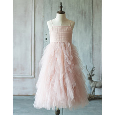 Custom Stunning Spaghetti Straps Long Ruffle Skirt Tulle Flower Girl Dress