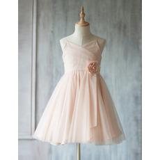 Little Girls Adorable A-Line Spaghetti Straps Short Tulle Flower Girl Dress