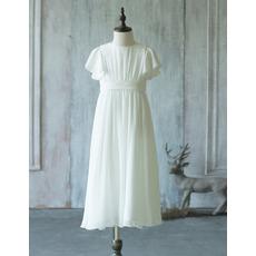 Custom Pretty Tea Length Chiffon Flower Girl Dress with Short Sleeves