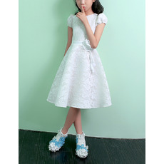 Affordable Knee Length Lace Flower Girl Dress with Short Sleeves