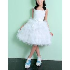 Adorable Knee Length Ruffle Skirt Flower Girl Dress with Straps