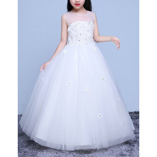 Little Girls Classy Sleeveless Floor Length Organza Flower Girl Dress