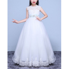 Classy Ball Gown Floor Length Applique Flower Girl Dress with Belt