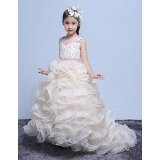 Adorable Sweep Train Ruffle Skirt Flower Girl Dress with Belts