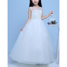 2018 Classy Ball Gown Floor Length Organza White Flower Girl Dress