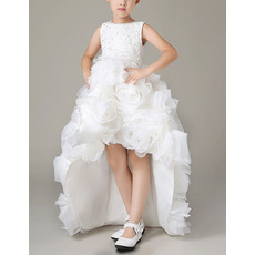 Inexpensive Pretty High-Low Organza Floral Skirt Flower Girl Dress