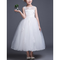 Stunning Ball Gown Sleeveless Tea Length Organza Flower Girl Dress