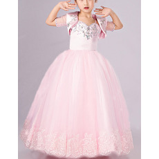 Classy Beautiful Ball Gown Floor Length Pink Flower Girl Dress with Jackets