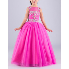 Pretty Ball Gown Sleeveless Floor Length Organza Flower Girl Dress