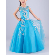 Pretty Ball Gown Sleeveless Floor Length Rhinestone Blue Flower Girl Dress
