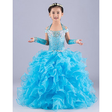 Classy Ball Gown Halter Long Ruffle Skirt Blue Flower Girl Party/ Pageant Dress