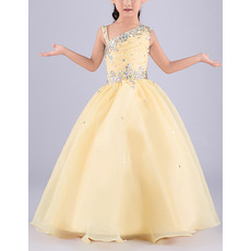 Beautiful Ball Gown Asymmetric Sleeveless Floor Length Flower Girl Dress