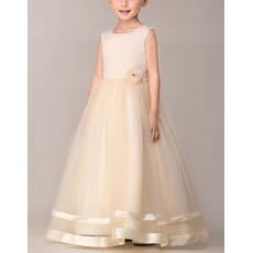 Little Girls Ball Gown Sleeveless Long Satin Tulle Flower Girl Dress
