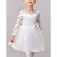 Little Girls Adorable Ball Gown Short Satin Flower Girl Dress with Lace Sleeves