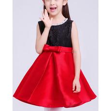 Little Girls Pretty Cute A-Line Sleeveless Short Lace & Satin Flower Girl Dress