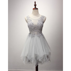 Fitted A-Line Sleeveless Short Tulle Layered Skirt Homecoming Dress