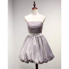 Classy Ball Gown Strapless Short Taffeta Organza Homecoming Dress