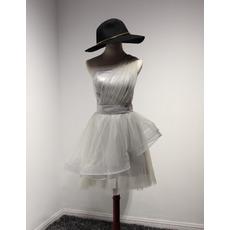 Designer A-Line One Shoulder Knee Length Satin Tulle Homecoming Dress