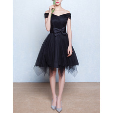 Girls Classy Off-the-shoulder Short Little Black Homecoming Dress with Bows