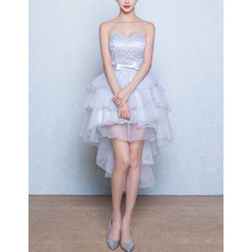 Inexpensive Hipster Sweetheart High-Low Layered Skirt Homecoming Dress