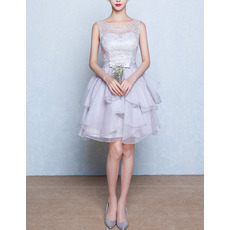 Girls Sexy Sleeveless Short Layered Skirt Lace Organza Homecoming Dress