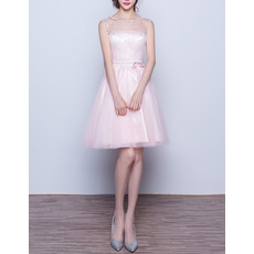 2017 New Style Sleeveless Short Satin Tulle Homecoming Dress