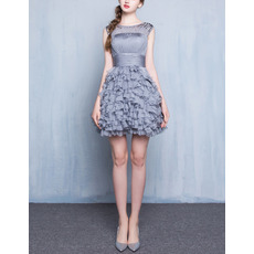 Pretty Sleeveless Short Chiffon Ruffle Skirt Homecoming Dress