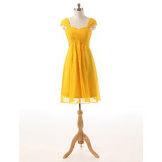 Elegant Sweetheart Cap Sleeves Knee Length Chiffon Homecoming Dress