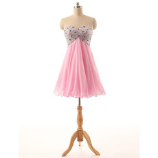 Hipster Sweetheart Short Pink Chiffon Beading Homecoming Dress