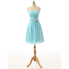 Inexpensive Strapless Knee Length Light Blue Chiffon Homecoming Dress with Belts