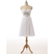 Simple Sweetheart Sleeveless Knee Length Little White Chiffon Homecoming Dress