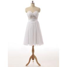 Simple Sweetheart Sleeveless Knee Length Little White Chiffon Homecoming Dress