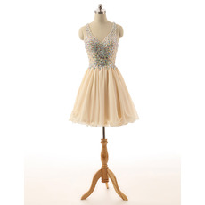 Custom A-Line V-Neck Short Chiffon Rhinestone Junior Homecoming Dress