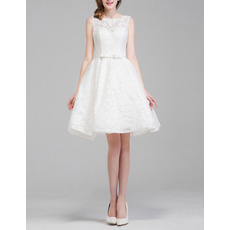Affordable Casual A-Line Sleeveless Lace Short Open Back Wedding Dress
