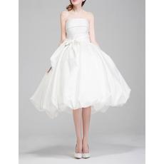 Classic Modern Ball Gown Strapless Knee Length Taffeta Wedding Dress