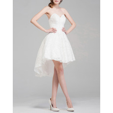 Informal Summer Sweetheart Sleeveless High-Low Lace Short Wedding Dress